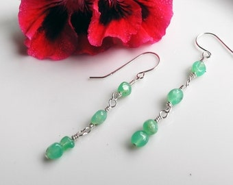 Chrysoprase Earrings, Chrysoprase Jewelry, Long Chrysoprase Dangle Earrings, STERLING SILVER fine wire, Energizes Heart Chakra