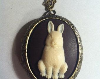 Kawaii Locket Chocolate Bunny Christmas Cameo Ladies Silver Filegre art designer Necklace Pendant