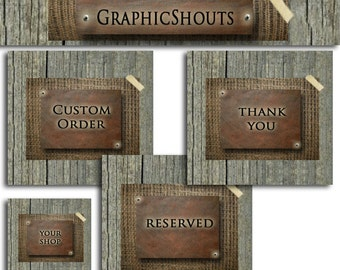 Etsy Shop Banner Set - Premade Banners and Avatars - Boutique Wooden Burlap and Leather cover banner