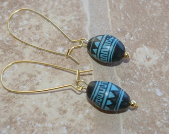 Earrings - Large Black and Turquoise Painted Clay Beads