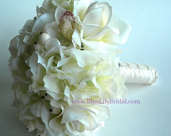 Ivory Real Touch Rose and Orchid Bridal Bouquet