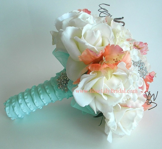The Original Ashley Bouquet- Coral, Cream and Soft Aqua Real Touch Bridal Bouquet- Made to Order-  Style # 200