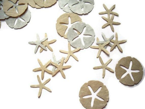 50 starfish and 50 sand dollar punches, scrapbook embellishment, wedding decoration