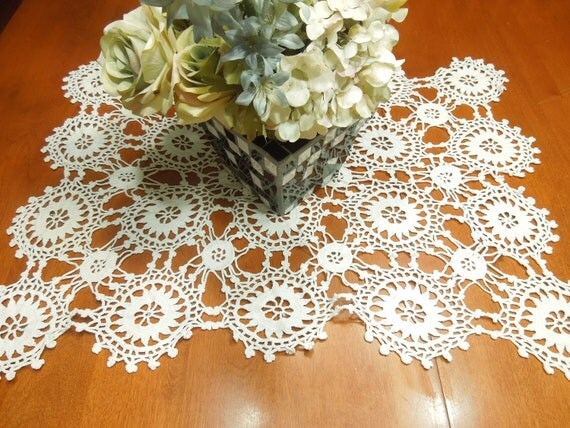 Vintage Hand crochet white doily table runner granny circles for housewares, home decor, handbags, crafts, sewing by MarlenesAttic