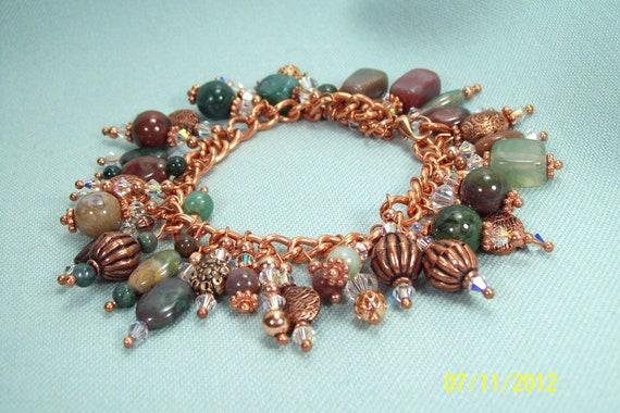 Chunky Fancy Jasper Swarovski Copper Bracelet Reduced 50%