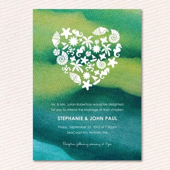 Etsy Beach Wedding Invitations: Items Similar To Tie Dye Beach Wedding Invitation