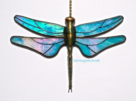 Stained Glass Dragonfly FAN PULL Suncatcher, Beautiful Iridescent Turquoise Wings - Handcast Metal Body,  USA Handmade
