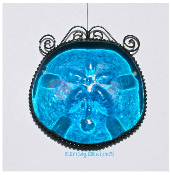 Pressed Glass Sand Dollar Suncatcher, Deep Turquoise with Wire Accents