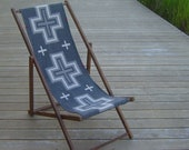 RESERVED Vintage Oak Folding Deck Chair, Wool Seat