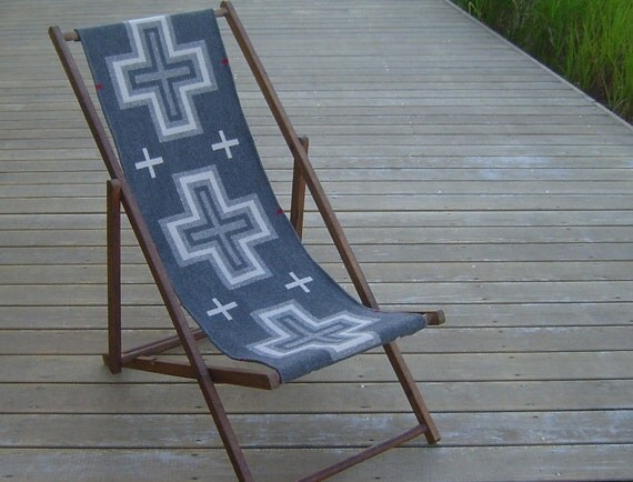 RESERVED Vintage Oak Folding Deck Chair, Wool Seat