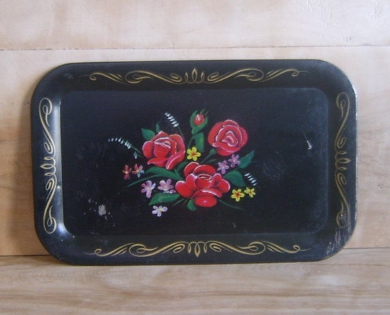 SALE - Vintage Metal Toleware Tray w/ Red Painted Roses