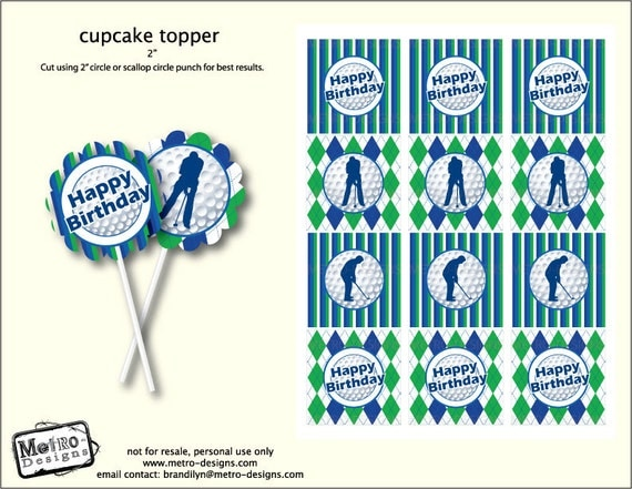 Golf Theme Cupcake Toppers, Tags, Favors Digital File, Metro Events / Metro-Designs