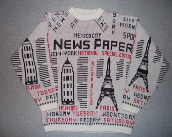 1980s Paperboy Hipster Grunge Sweater New York National Newspaper Black and White Read Paris Tacky Gaudy Ugly Christmas Party X-Mas M Medium