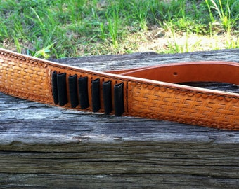 Leather Rifle Sling with Bandolier, Adjustable
