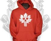 Red hoodie Canada sweatshirt Canadian skull flag distressed maple leaf sweater warm hoodie for men women teenagers
