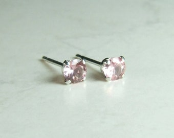 Pink Sapphire, 3.5mm x 0.20 Carats, Round Cut, Sterling Silver Post Earrings
