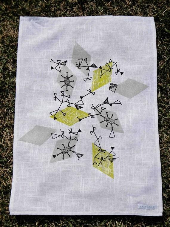 Mid century design tea towel - Atomic 1 - Hand screen printed
