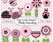 Pink and Black Ladybugs, Flower, Garden Clip Art for Digital Scrapbooking,  Card Making, Party Printables, Instant Download