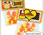 Personalized Printable Halloween Bag Topper Candy Corn, Owl in Yellow, Orange and Black  Sunday School or Party Favors, Instant Download