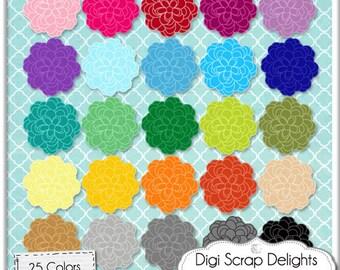 Blossoms Ranunculus Clip Art  3 Cabochons in 25 Colors CU Digital Scrapbooking  Embellishments for Cards & Crafts, Instant Download