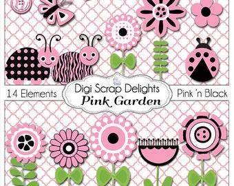 2.00 SALE! Pink and Black Ladybugs, Flower, Garden Clip Art for Digital Scrapbooking,  Card Making, Party Printables, Instant Download