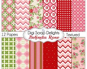 Shabby Chic  Digital Papers in Vintage Rose Belinda Red Pink Roses for Digital Scrapbooking, Instant Download