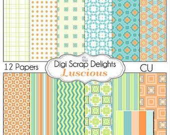 Luscious Digital Scrapbook Papers (Turquoise, Aqua, Orange, Green) Instant Download