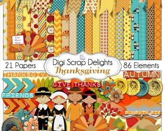 Thanksgiving Scrapbook Kit w Turkey, Pilgrim, Pumpkin, for Digital Scrapbooking, Fall Cards, Crafts, Orange, Yellow, Teal Instant Download