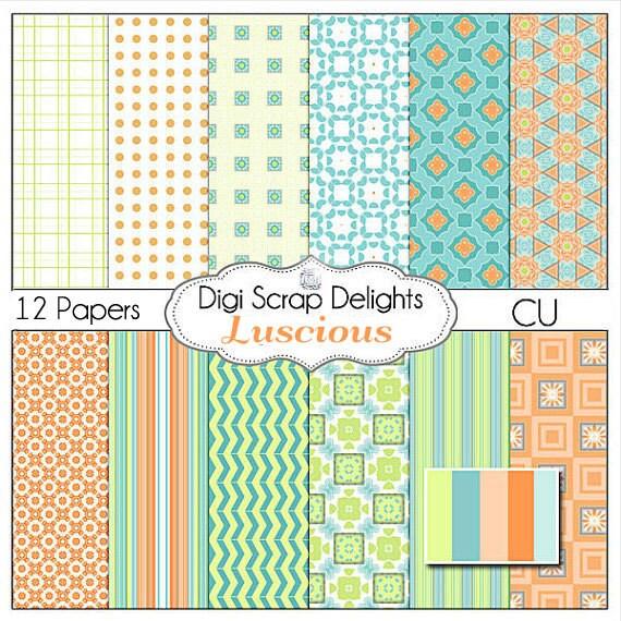 Luscious Digital Scrapbook Papers (Turquoise, Aqua, Orange, Green) Instant Download