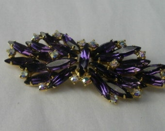 Vintage Brooch Large with Faceted Purple Stones Aurora Borealis Rhinestones Bow Tie