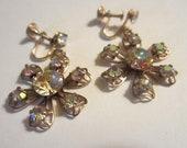 Vintage Aurora Borealis Flower Earrings - Screw Back Dangle Earrings - Gold Tone and Glass  - Womens Vintage Jewelry