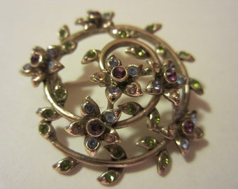 Vintage Monet Flower Brooch - Colored Rhinestone Flowers - Collectors Jewelry - Womens Fashion Accessory
