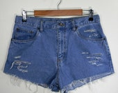 Periwinkle Blue High Waist Distressed Cut Off Jean Shorts Size 16