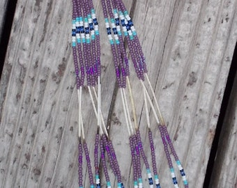 "Native American Inspired Design Glass Seed Beads and Porcupine Quills Dangling Earrings - ""Summer Storm"""