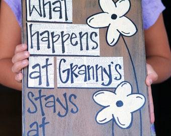 what happens at grandmas wood sign