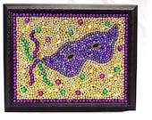 Framed, Mardi Gras, bead mask, bead art, mosaic, purple, green, gold, New Orleans, bead mosaic, custom art, Mardi Gras mask,