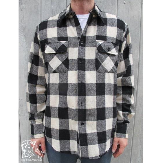 Vintage Mens Black White Buffalo Plaid Shirt Large