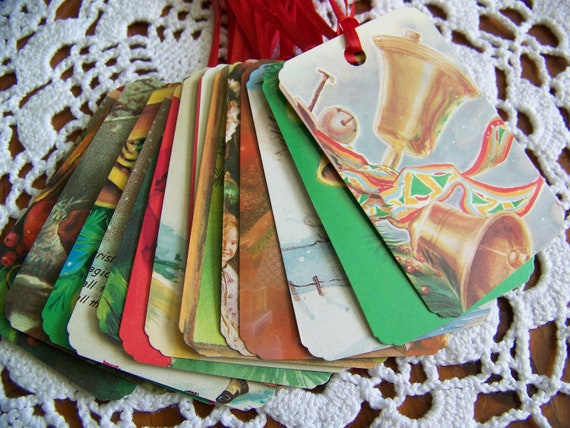 Vintage Christmas Gift Tags Holiday Favor Labels Upcycled Repurposed