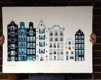 Amsterdam Print - Large 2 colour silkscreen print