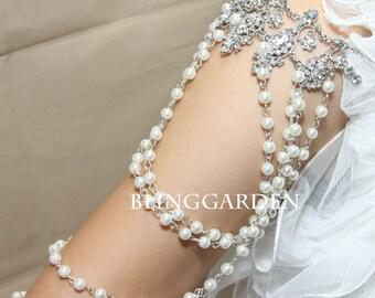 Bridal Wedding Bra Strap Halter Jewelry Rhinestone Crystals Shoulder Necklace ---- per one side