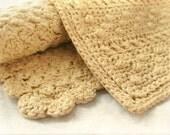 Set of 2 - Handmade Crochet Washcloths - Cotton, Linen - Pale Yellow Buttercup Cornmeal Lemon - Spa, Housewarming, Mother's Day, Gift