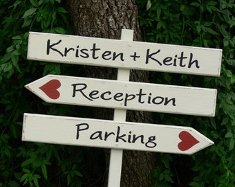 CUSTOM Wood Wedding DIRECTIONAL Signs. Made to Order. HANDPAINTED. Three Piece Sign - Names, Reception, Parking.