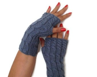 SALE  Gloves Personalized Fingerless Air Force blue Fingerless Gloves Armwarmers Hand Knit Chic Winter Accessories Winter Fashion