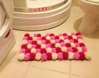 Pink collorful Pom Poms Bath Mat, Bathroom Rug, doormat,pet mat, multicolored rug, children room rug, Spa Collection , handmade rug