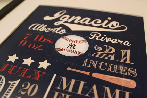 "Customized Vintage Baseball Theme Nursery Print - 8""x10"" - LOVELY LITTLE PARTY"