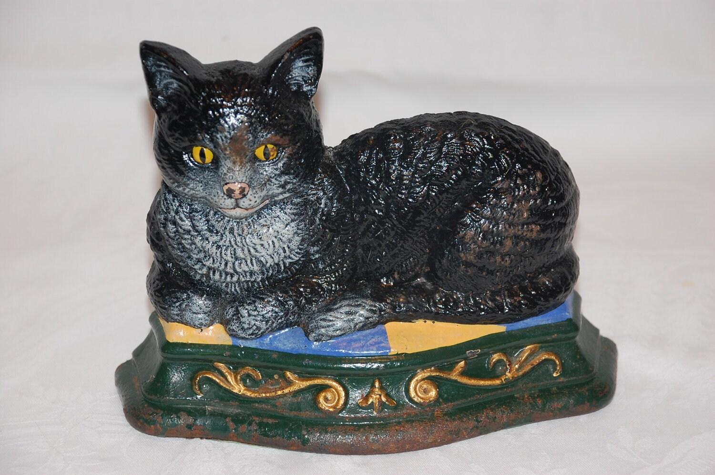 Vintage wright studios cast iron cat doorstop hand by vintagetwice - Cast iron cat doorstop ...