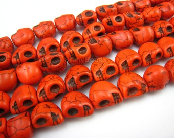 Synthetic turquoise  skull bead  13x10mm 15 inch strand