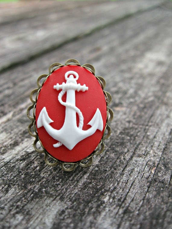 Nautical Inspired --Red Anchor Ring