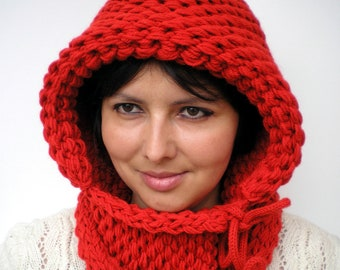 Little Red Riding Hood Double Spirit  Knit Hood Super soft Mixed    wool Woman Reversible   Hooded Cowl Fire Red Chunky Hoodie Fall Winter