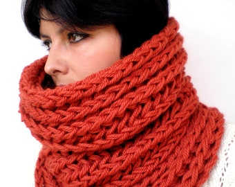 Harmonic Brick  Cowl Super Soft  Wool Neckwarmer Women / Men   Big  Chunky Cowl NEW